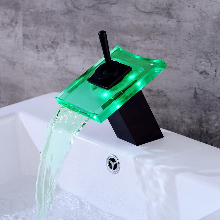 цена на Bathroom Waterfall Faucet LED Faucet. Black Waterfall Brass Basin Faucet. Bathroom Mixer Tap Deck Mounted Basin Sink Mixer Tap