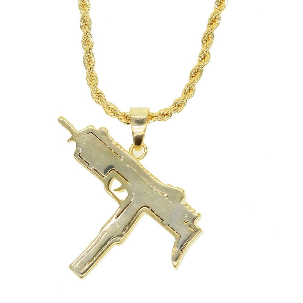 Wysokiej jakości męskie chłopcy naszyjniki ręcznie pistolet pistolet naszyjnik mężczyźni złoty kolor Hip Hop colar biżuteria 60cm łańcucha