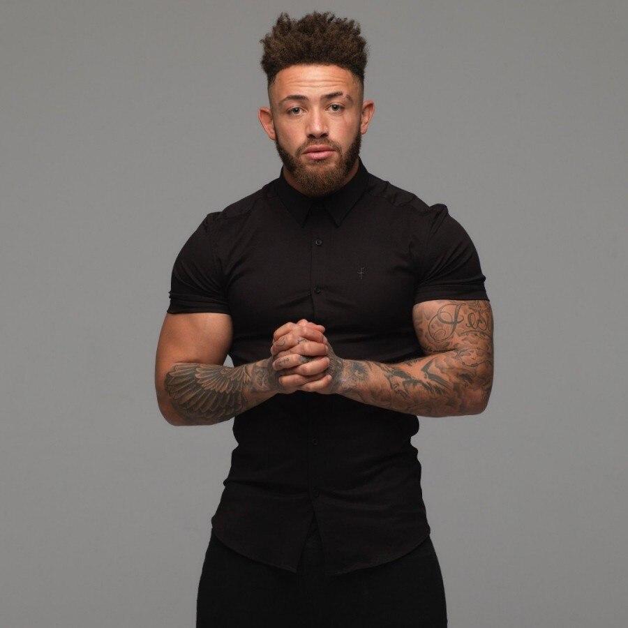 Taille lâche hommes chemises 2018 été marque vêtements Camiseta Masculina noir blanc coton à manches courtes hommes chemise