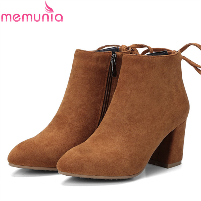 MEMUNIA PU nubuck leather shoes woman ankle boots for women fashion elegant party boots female spring autumn big size 34-42