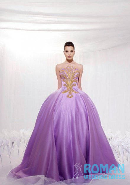 Roman Wedding Floor Length Lovely Sexy Lovely Purple Organza Ball