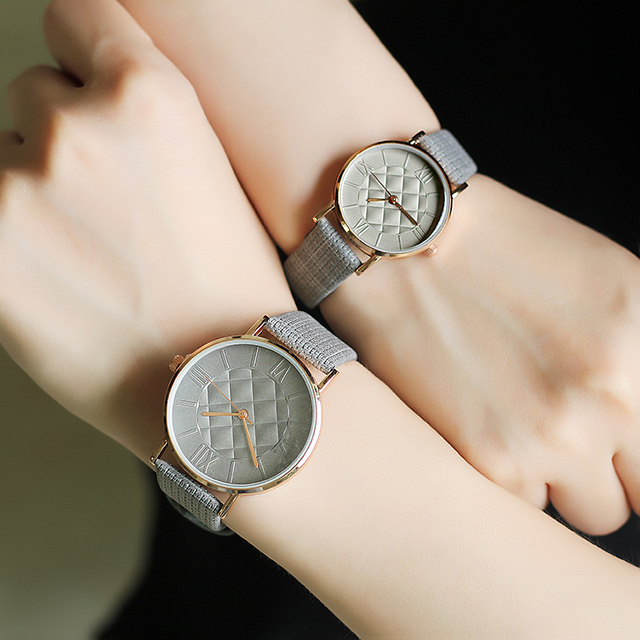 simple lover's wrist watches fashion casual men women quartz leather watch BGG b