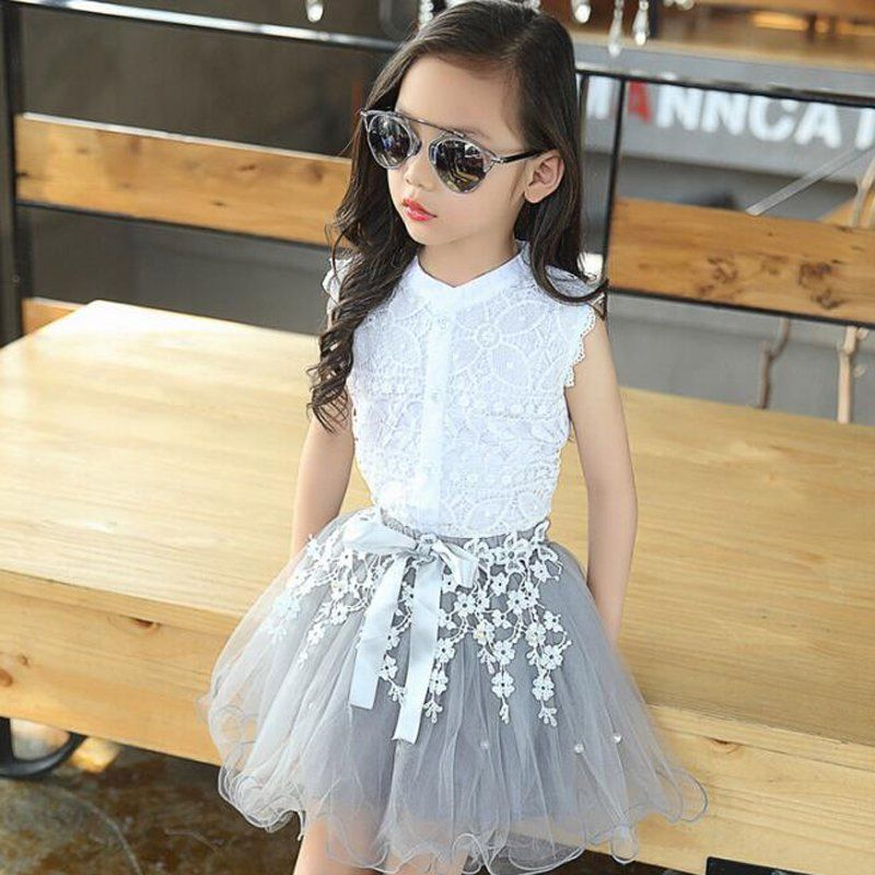 2PCS Toddler Kids Baby Girls Lace Shirt Tops Tutu Skirt Dress Outfit Clothes Set Sleeveless Lace Patch Shirt Gray Bead Skirt 2pcs baby kids girls rabbit bunny green cotton t shirt tops dots denim bib overalls skirts outfit clothes 1 5y