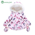 Winter jacket for baby girls Fashion girls winter coat+Gloves 2pcs Set Butterfly Hooded Zipper Cotton children outerwear jacket