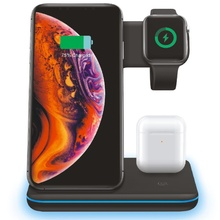 FDGAO 15W Qi Wireless Charger 3 in 1 Fast CHARGING Stand Dock สำหรับ Apple นาฬิกา 5 4 3 2 iPhone 11 Pro X XS XR สูงสุด 8 Airpods iWatch