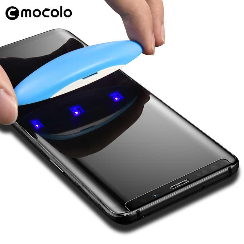 נוזל UV מסך מגן עבור סמסונג גלקסי S8 S9 S10 בתוספת Mocolo מלא מודבק 5D מעוקל UV מזג זכוכית עבור סמסונג הערה 9 8