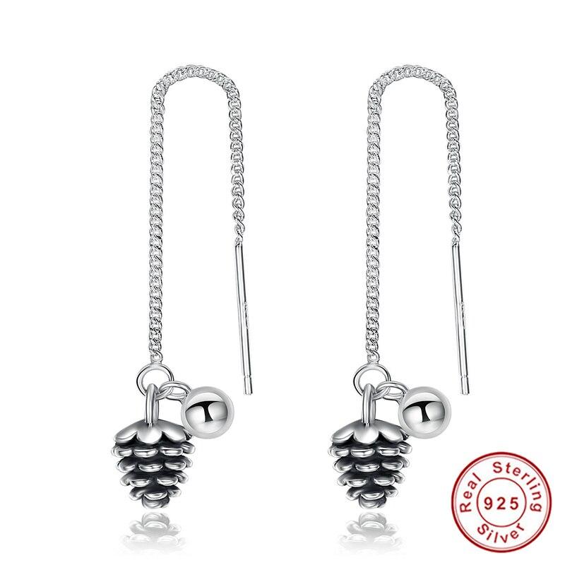 Vintage 925 Sterling Silver Earring Long Drop Plant Pinecone Earrings Women Jewelry