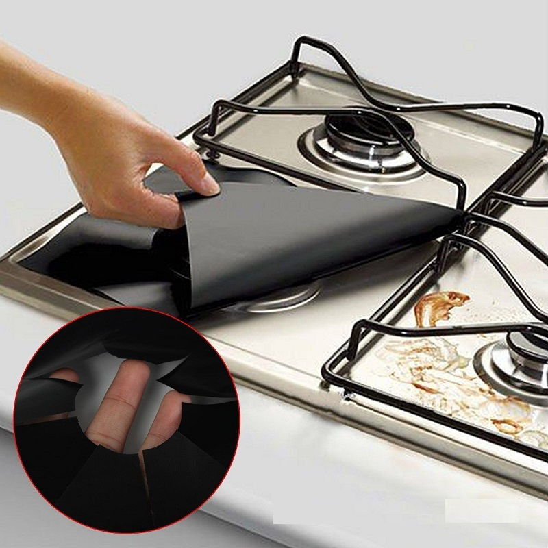Shop2818067 Store Reusable 4Pcs Square Gas Hob Burner Cooker Protector Washable Heat Resistant Non Stick Easy Clean Anti Fouling Pad