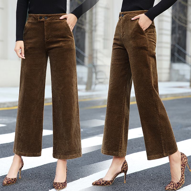 autumn new women's corduroy Straight   pants   female high waist retro stretch   pants   velvet   pants   plus size women   wide     leg     pants