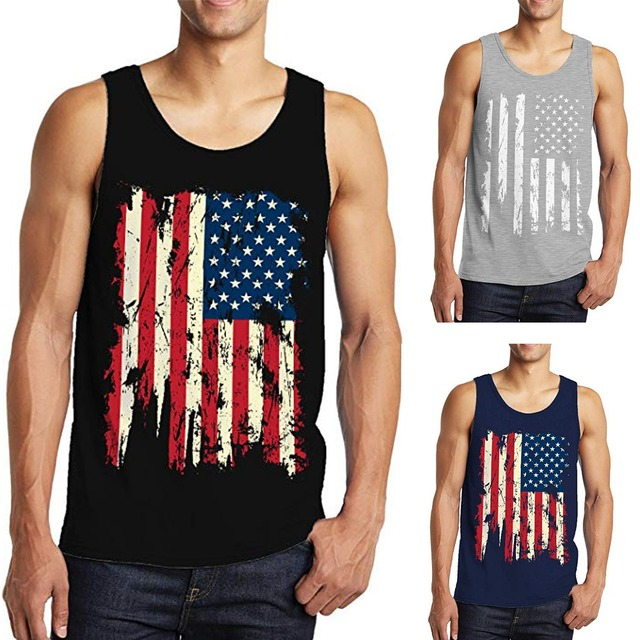 e35802716a9 OA Men s Vintage American Flag Workout Stringer Bodybuilding Tank Top  Muscle Fit