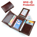 Cowhide! Small Purse With Hasp Men's Trifold Wallet RFID Blocking Genuine Leather Credit Card Holder With Secure ID Window Purse