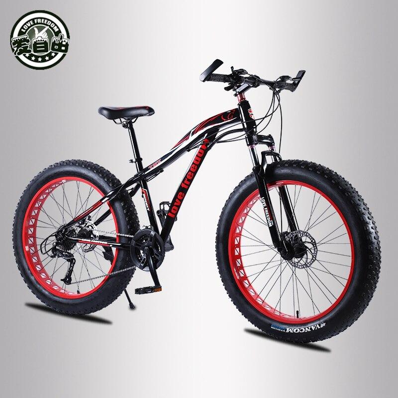 Amor liberdade mountain bike 26*4.0 pneu de gordura bicicleta 21/24/27 velocidade bloqueio amortecedor bicicleta entrega gratuita bicicleta neve