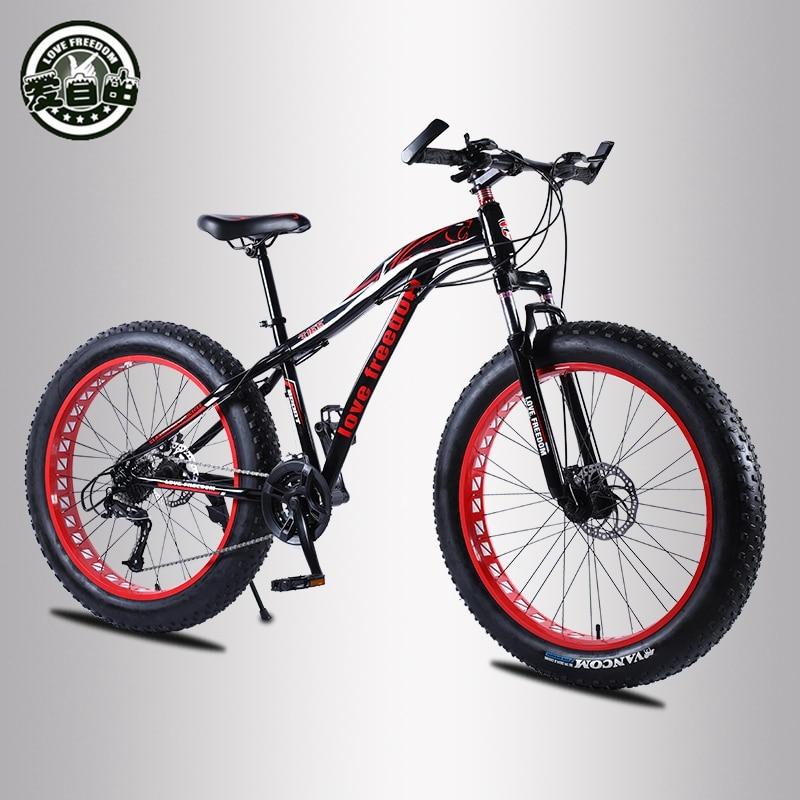 Love Freedom Mountain bike 26 4 0 Fat Tire bicycle 21 24 27 Speed Locking shock Innrech Market.com