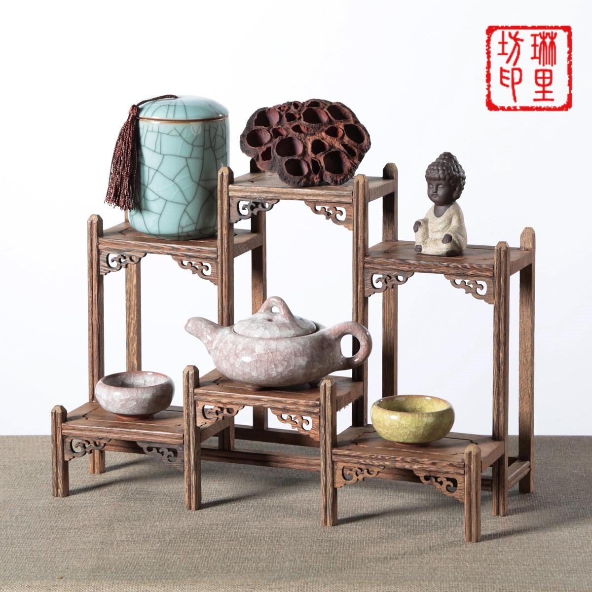 Étagères décoratives en bois debout ornements d'artisanat domestique présentoirs décoration artisanat cadre en bois de Style chinois
