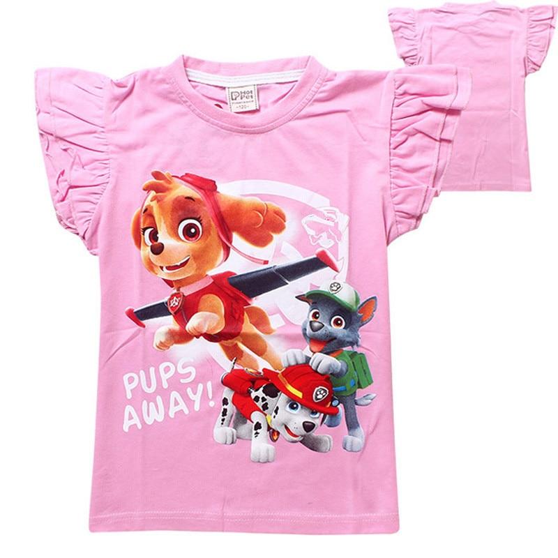 retail summer girl clothing T Shirt cartoon Dog Printing