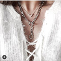 Summer Neck Jewelry Women's Silver Link Necklace Set Fashion Brand V Pendant Necklaces for Women 2piece/Set
