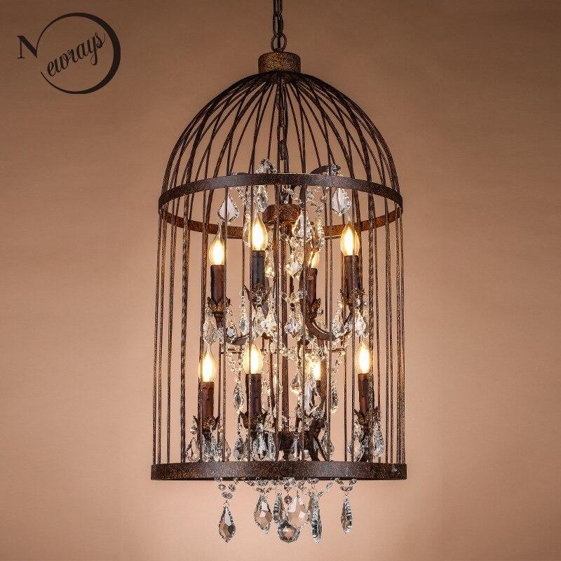 Retro Černá / rzi Železné Birdcage Style Lustry E14 Velký styl Křišťálový lustr moderní LED Osvětlení pro obývací pokoj kuchyně