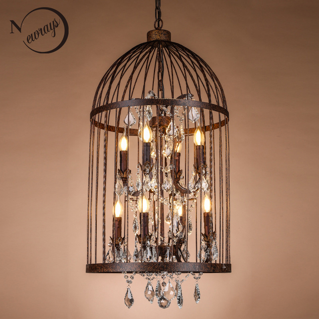 Retro Black Rust Iron Birdcage Style Chandeliers E14 Crystal Chandelier Modern Led Lighting