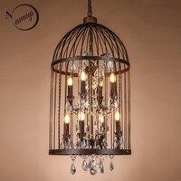 Retro Nero/ruggine di Ferro Birdcage Style Lampadari E14 Grande Stile Lampadario Di Cristallo moderna Illuminazione A LED per soggiorno cucina