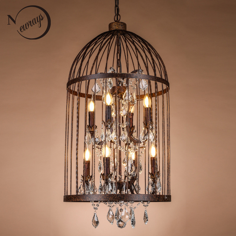 Retro Vintage Antique Rust French Crystal Cage Chandelier European Style LARGE FRENCH EMPIRE STYLE BAG CRYSTAL