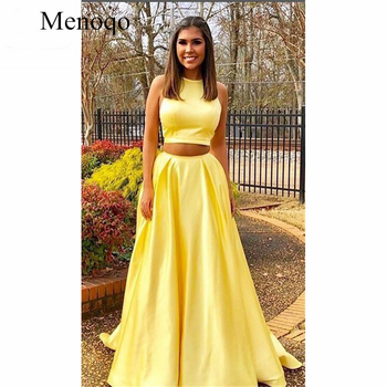 Yellow Two Pieces Gown Evening Dresses Long Prom Gown Pockets Satin Formal Evening Party Dress for Women Custom Made P2JY16
