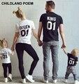 Лето семья соответствия одежды с коротким рукавом семья одежда 100% хлопок Футболка король королева семья соответствующие наряды Семья Посмотрите
