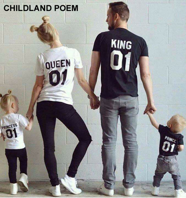 cabb45a7 summer family matching clothes short sleeve family clothing 100% cotton  T-shirt king queen family matching outfits Family Look