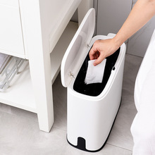 цена на Three Flowers Oval Classification Trash Can Household Living Area Bathroom between Garbage Can Press Play Cover Basket
