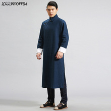 Men Traditional Chinese Linen Trench Coat Mandarin Collar Long Sleeves Mens Long Robes Frog Closures Side Slit Kung Fu Costumes cheap Single Breasted REGULAR LOLLINPOPPIN ZJW181008395 Chinese Style STANDARD Full Conventional Batik NONE Solid Button