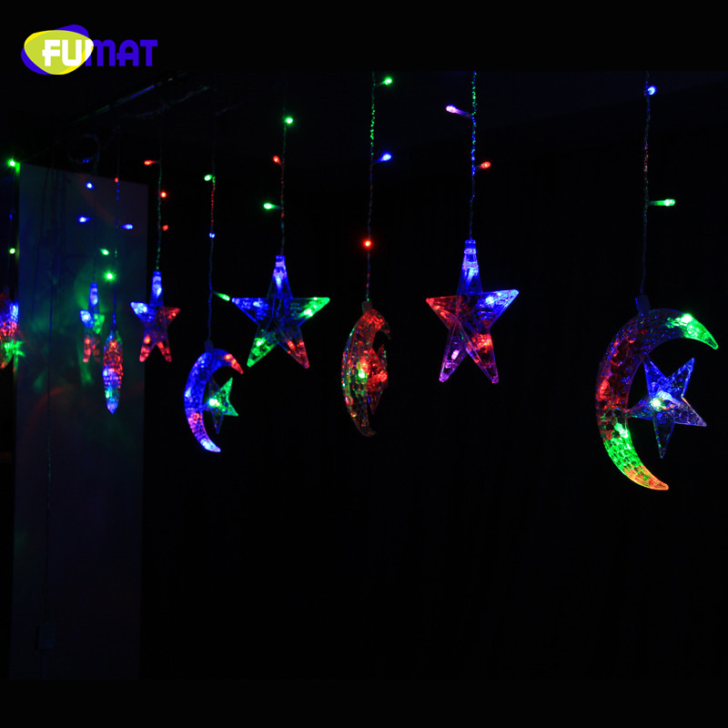 Curtain Fairy String Lamp Moon & Star +Star 108 LED Decoration Lights RGB Home Decor Party Romantic Lights Xmass String Light<