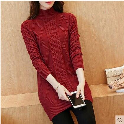 Autumn Women Sweaters 2018 New Fashion Turtleneck Long-sleeved Sweater Dress Winter Warm Twist Crocheted Knitted Jumper Coats