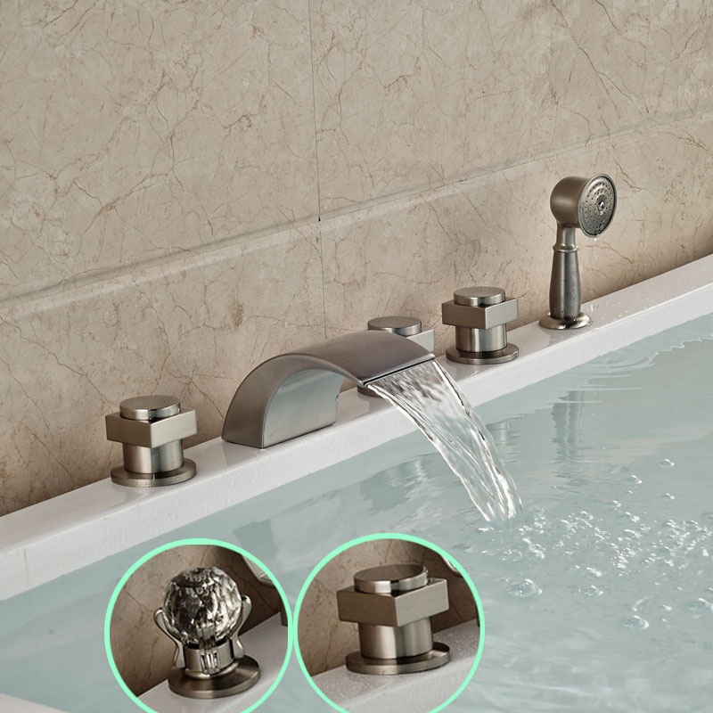 Modern Deck Mount Tub Sink Faucet Widespread Bathtub Waterfall Mixer Taps Brushed Nickel with Handshower oil rubbed bronze waterfall tub mixer faucet free standing floor mount bathtub faucet with handshower