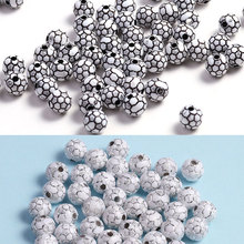 Wholesale 100pcs/lot 2 Colors Black/Silver Acrylic Cute Football Beads Charms For Child Diy Gifts Jewelry Making Bracelets