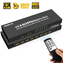 SGEYR HDMI Matrix 4x2 6x2 Switch Splitter 4 in/6 in 2 out with SPDIF+ 3.5MM audio Extractor 4Kx2K/30HZ Remote control