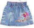 2-6A Meninas light-Blue Jeans saias Bebê arcos florais e letras Doce bordado mini jean pano Infantil saia bonito MH2358b