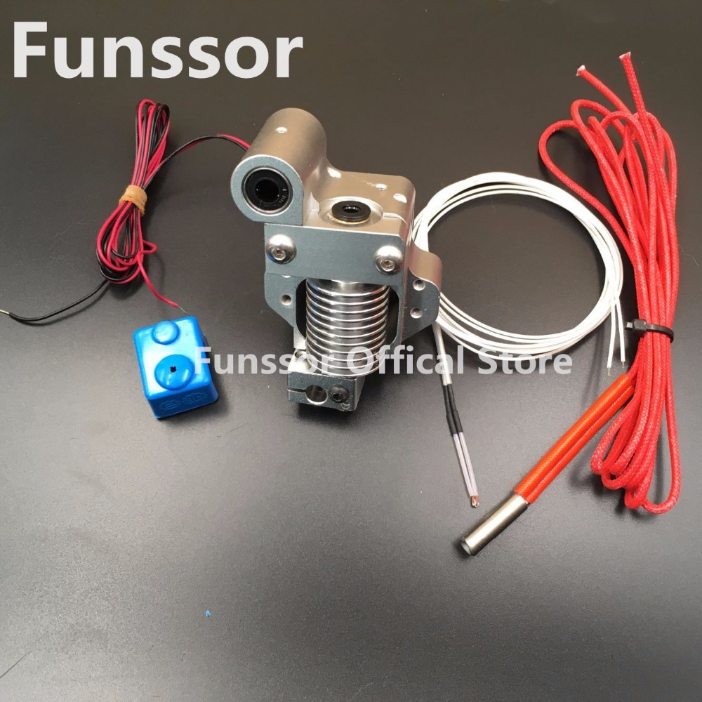 Funssor V6 hot end metal mount full assembly kit With NTC3950 Thermistor for DIY Ultimaker Original 3D printer funssor diy ultimaker 2 print head kit 3 d printer 0 4mm nozzle hot end assembly kit with 1 meter bowden tube