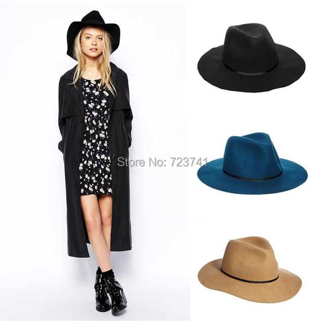3e28b5b4776 Vintage Autumn Winter 100% Wool Women s Men Fedora hats Floppy Trilby  felted hat Ladies Panama Cap Adjusted 56-58CM In Stock