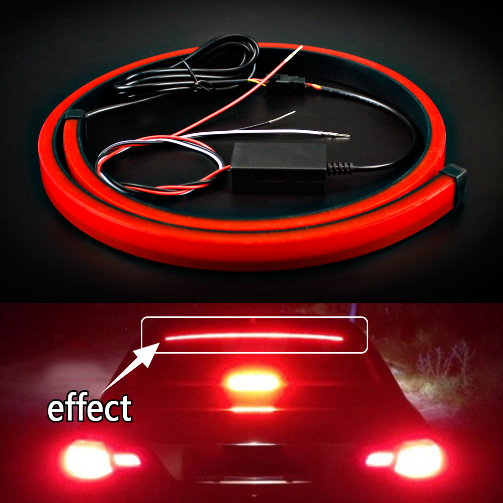 Red Flowing Flashing Super Bright Car Third Brake Light Led Light Strip Rear Tail High Mount Stop Lamp 12v Signal Safety Warning Strobe Emergency