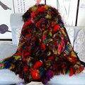 Долго стиль Роскоши Мульти Красочные натурального меха фокс женщин парка пальто Черный зимнее пальто бесплатная доставка