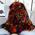 Long style Luxury Multi Colorful real fox fur women parka coat Black winter coat free shipping