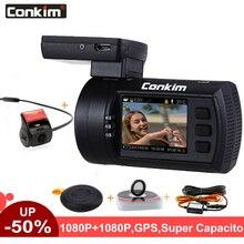 Conkim Con 2 Telecamere DVR Novatek 96663 Auto Video Recorder Anteriore Mini0906 Full HD Posteriore Dash Cam GPS Parcheggio Dual lente Registrar