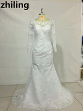 Custom-made Long Sleeves Mermaid Wedding Dresses Lace Bridal Gowns Boat Neck Wedding Gown