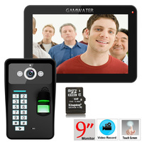 9 Inch Recording RFID Password Fingerprint Recognition 900TVL Color Video Door Phone Intercom Rainproof Night Vision