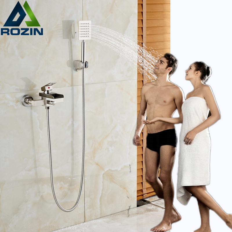 2016 Newly Waterfall Bath shower Faucet Brushed Nickel Handheld Shower Mixer Taps Single Handle with Bracket Holder brushed nickel waterfall shower mixer taps wall mount single handle with handshower bath shower faucet set