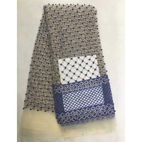 Latest Blue African French Lace Net Fabric High Quality Nigeria Lace Fabrics with beads For Wedding