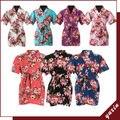 7 Cor Da Flor Meninas crianças floral Kimono robe, roupa de dormir de algodão robe YX0020