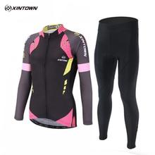 XINTOWN Team Cycling Sets Winter Thermal Fleece Maillot Long Women's Cycling Jersey Ropa Ciclismo Mountain Bike Wear Clothing
