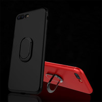 360 Degree Adjustable Metal Ring Car Finger Holder Back Case For iPhone 7 7 Plus Soft Matte TPU Magnetic Kickstand Phone Cover