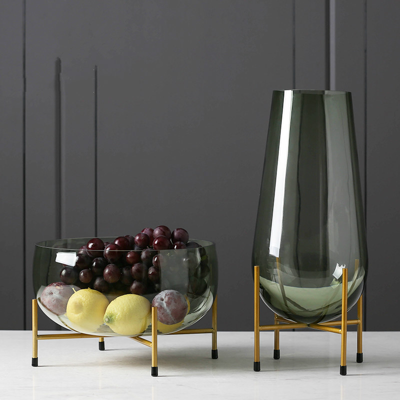 Luxury Glass Vase Designer Fruit Plate Modern Minimalist Transparent Vase Home Decoration Creative Decoration Gift