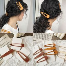 Japanese Forest Style Literary Girls Vintage Duckbill Hair Clips Geometric Hollow Triangle Wooden Hairpins Side Bangs Barrettes